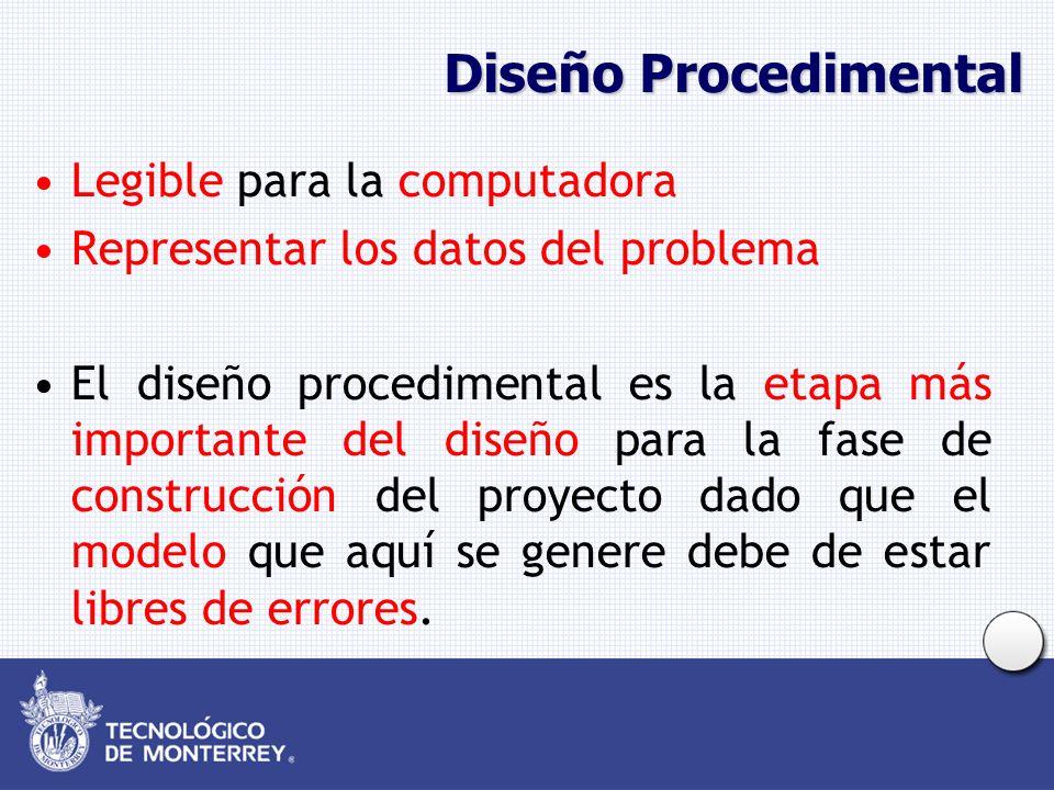 Diseño Procedimental Legible para la computadora Representar los datos del problema El diseño procedimental es la etapa más importante del diseño para la fase de construcción del proyecto dado que el modelo que aquí se genere debe de estar libres de errores.