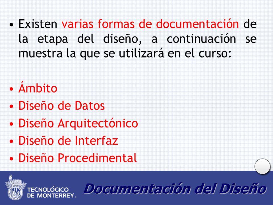 Documentación del Diseño Existen varias formas de documentación de la etapa del diseño, a continuación se muestra la que se utilizará en el curso: Ámbito Diseño de Datos Diseño Arquitectónico Diseño de Interfaz Diseño Procedimental