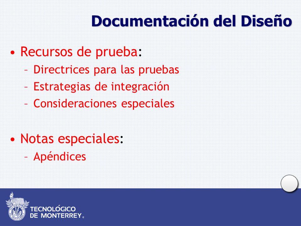 Documentación del Diseño Recursos de prueba: –Directrices para las pruebas –Estrategias de integración –Consideraciones especiales Notas especiales: –