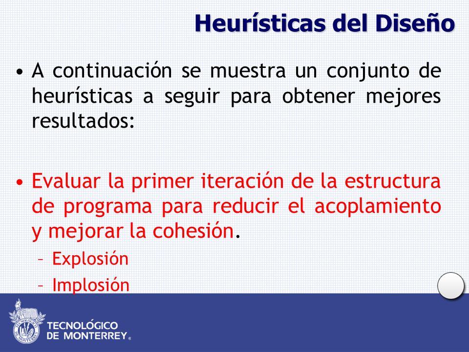 Heurísticas del Diseño A continuación se muestra un conjunto de heurísticas a seguir para obtener mejores resultados: Evaluar la primer iteración de l
