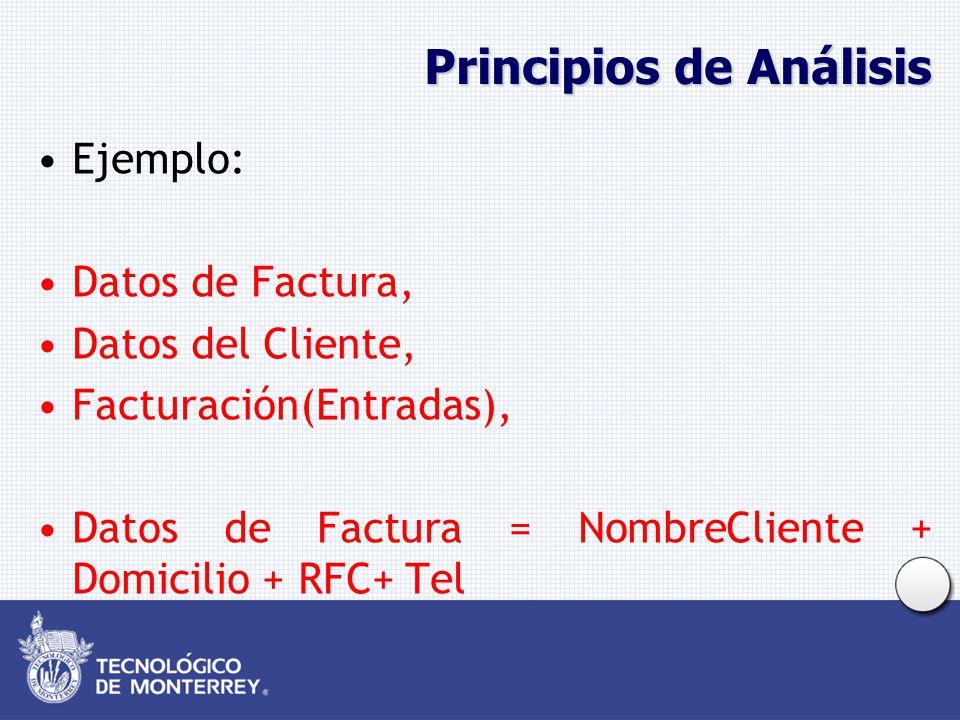 Principios de Análisis Ejemplo: Datos de Factura, Datos del Cliente, Facturación(Entradas), Datos de Factura = NombreCliente + Domicilio + RFC+ Tel