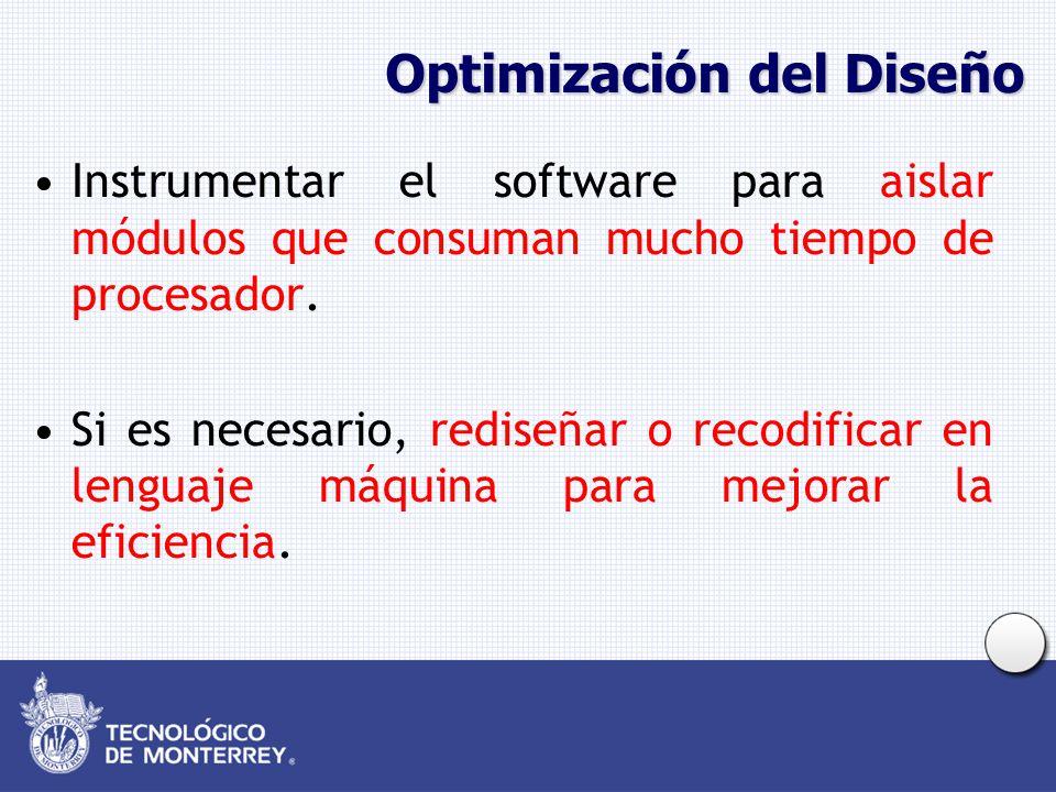Optimización del Diseño Instrumentar el software para aislar módulos que consuman mucho tiempo de procesador. Si es necesario, rediseñar o recodificar