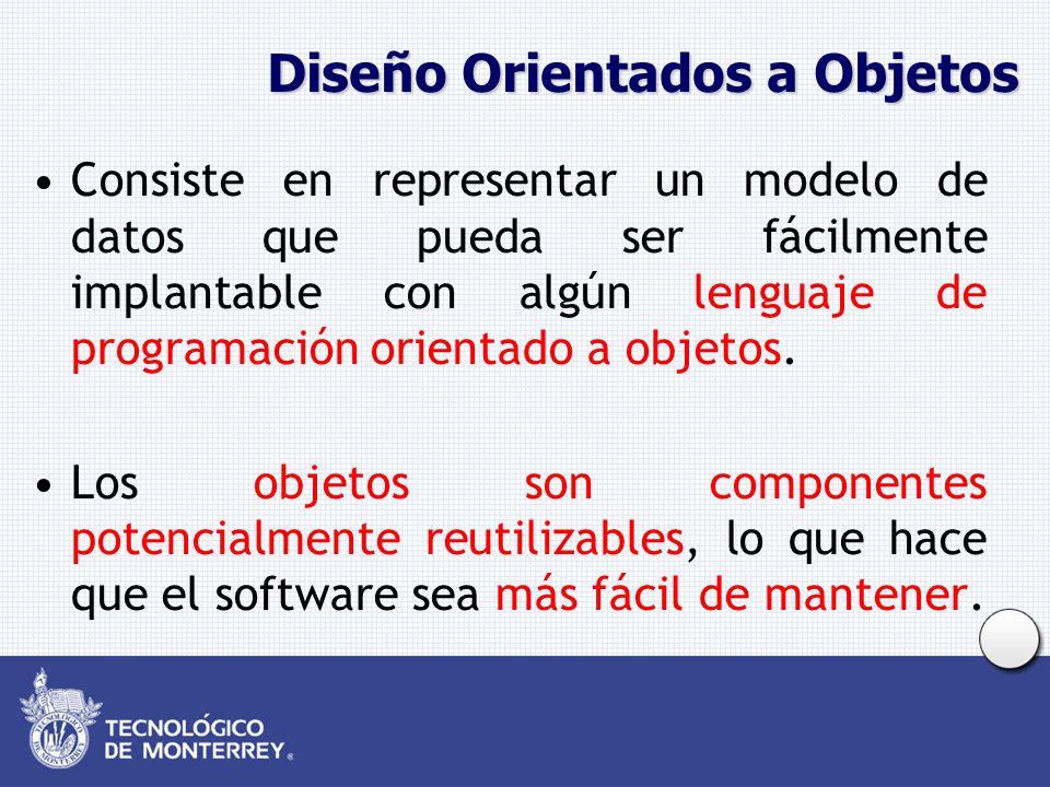 Diseño Orientados a Objetos Consiste en representar un modelo de datos que pueda ser fácilmente implantable con algún lenguaje de programación orientado a objetos.