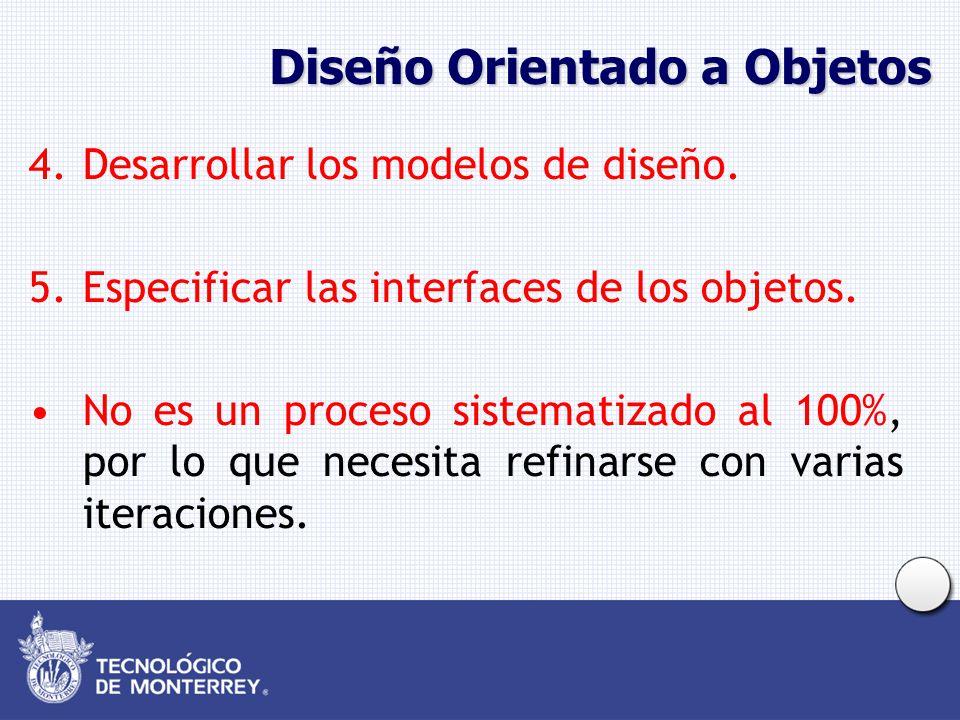 Diseño Orientado a Objetos 4.Desarrollar los modelos de diseño. 5.Especificar las interfaces de los objetos. No es un proceso sistematizado al 100%, p