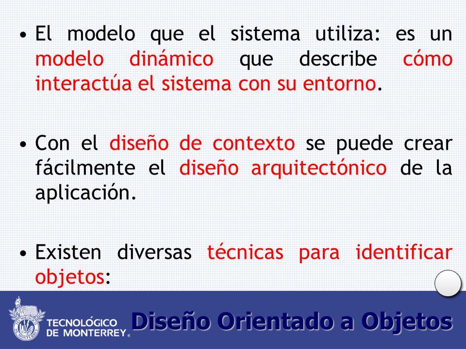 Diseño Orientado a Objetos El modelo que el sistema utiliza: es un modelo dinámico que describe cómo interactúa el sistema con su entorno.