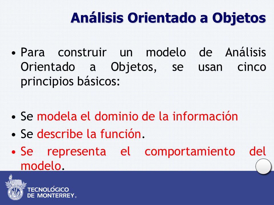 Análisis Orientado a Objetos Para construir un modelo de Análisis Orientado a Objetos, se usan cinco principios básicos: Se modela el dominio de la in