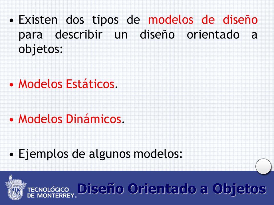 Diseño Orientado a Objetos Existen dos tipos de modelos de diseño para describir un diseño orientado a objetos: Modelos Estáticos.