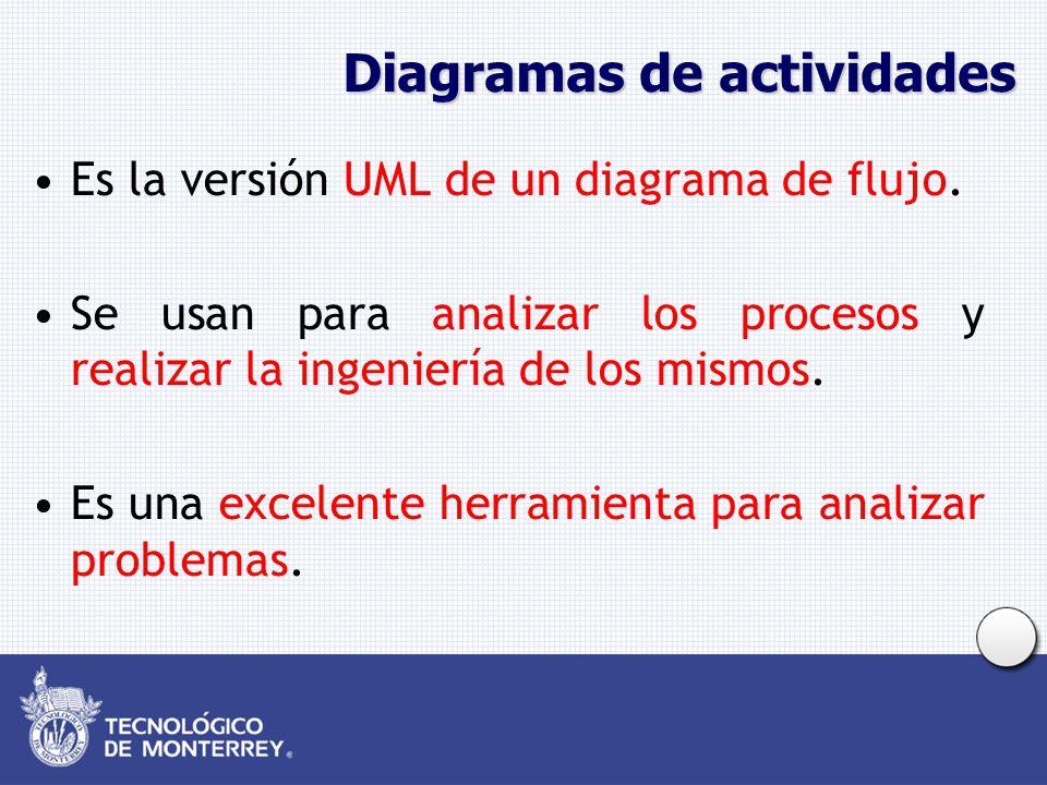 Diagramas de actividades Es la versión UML de un diagrama de flujo. Se usan para analizar los procesos y realizar la ingeniería de los mismos. Es una