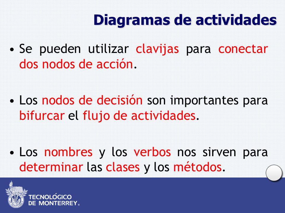 Diagramas de actividades Se pueden utilizar clavijas para conectar dos nodos de acción. Los nodos de decisión son importantes para bifurcar el flujo d