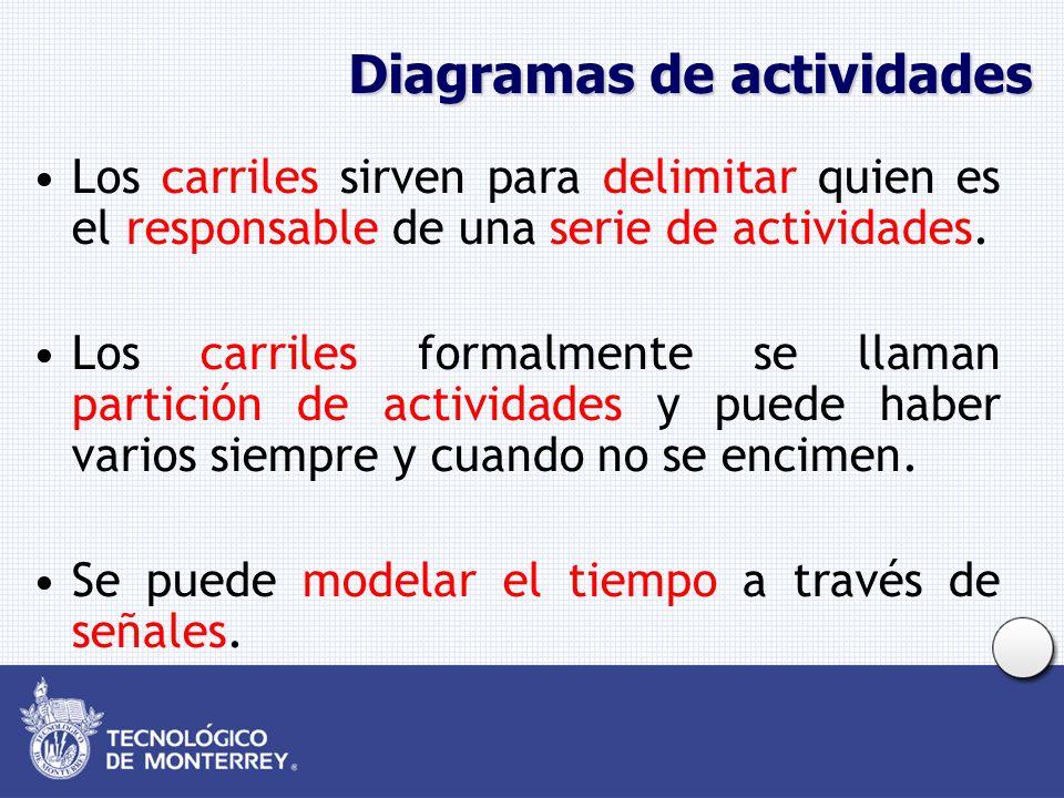 Diagramas de actividades Los carriles sirven para delimitar quien es el responsable de una serie de actividades. Los carriles formalmente se llaman pa