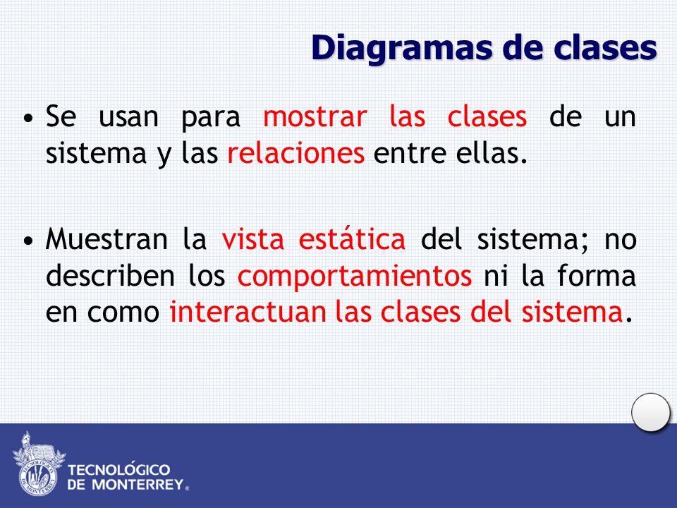 Diagramas de clases Se usan para mostrar las clases de un sistema y las relaciones entre ellas. Muestran la vista estática del sistema; no describen l