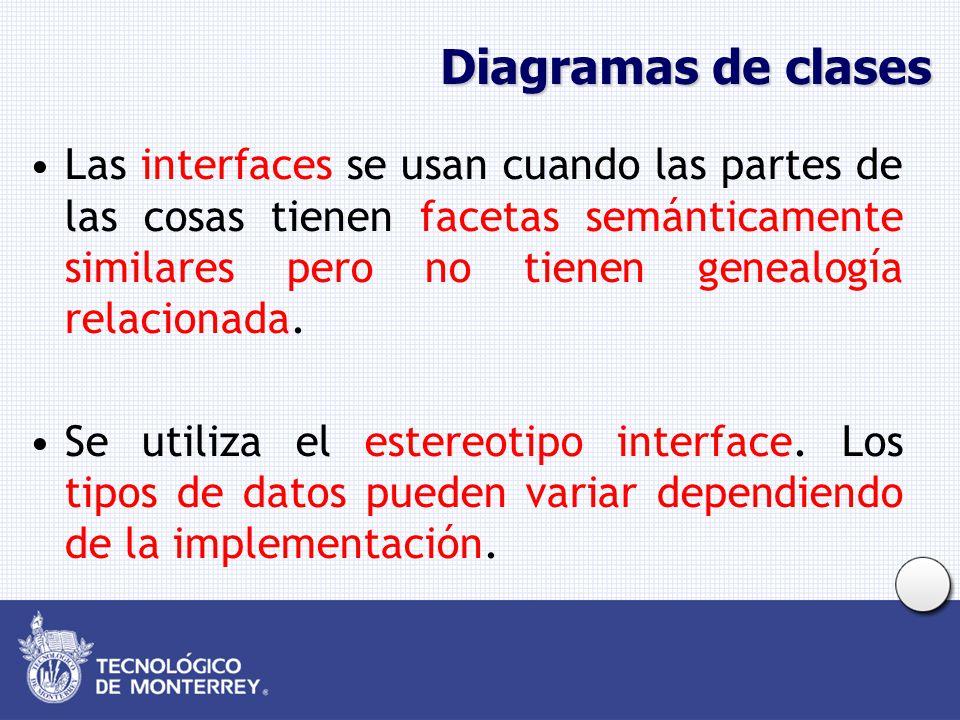 Diagramas de clases Las interfaces se usan cuando las partes de las cosas tienen facetas semánticamente similares pero no tienen genealogía relacionad
