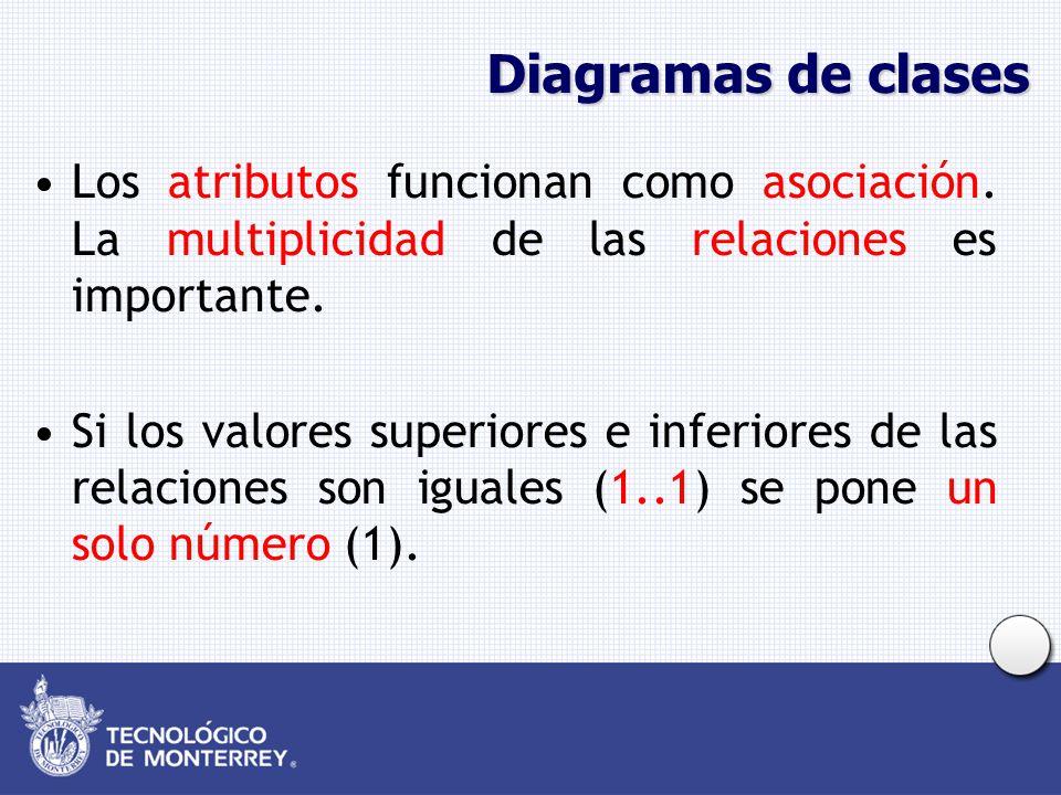Diagramas de clases Los atributos funcionan como asociación. La multiplicidad de las relaciones es importante. Si los valores superiores e inferiores