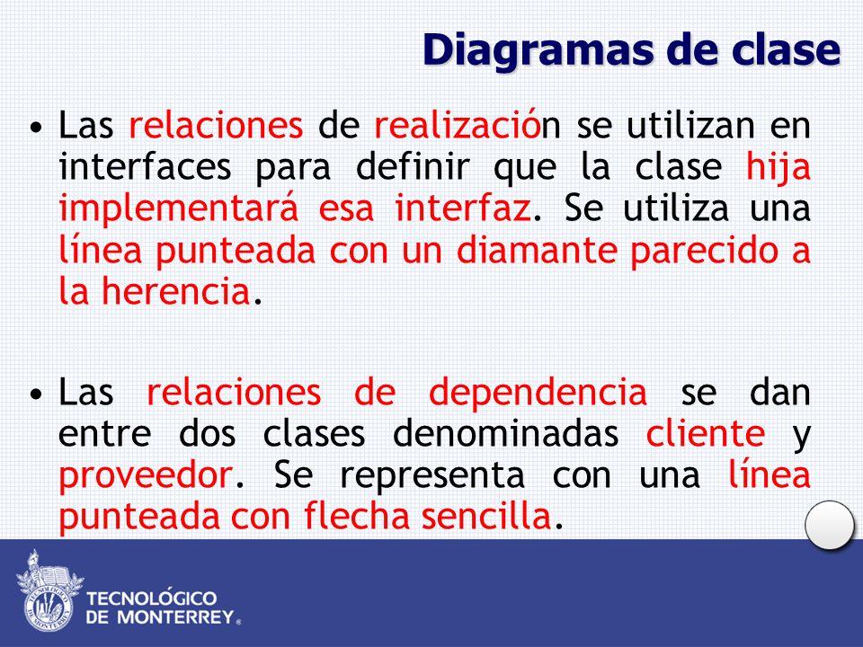 Diagramas de clase Las relaciones de realización se utilizan en interfaces para definir que la clase hija implementará esa interfaz. Se utiliza una lí