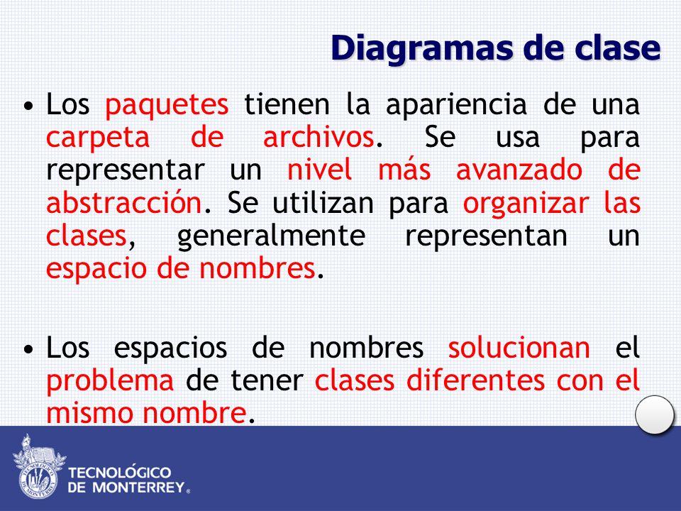 Diagramas de clase Los paquetes tienen la apariencia de una carpeta de archivos. Se usa para representar un nivel más avanzado de abstracción. Se util