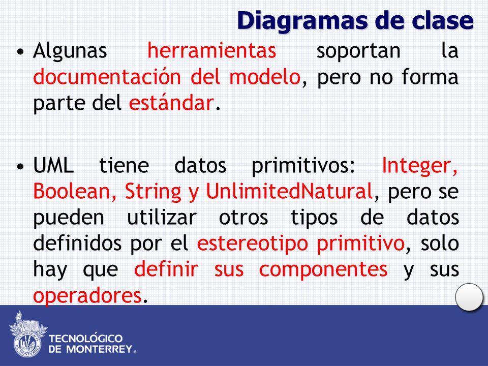 Diagramas de clase Algunas herramientas soportan la documentación del modelo, pero no forma parte del estándar. UML tiene datos primitivos: Integer, B
