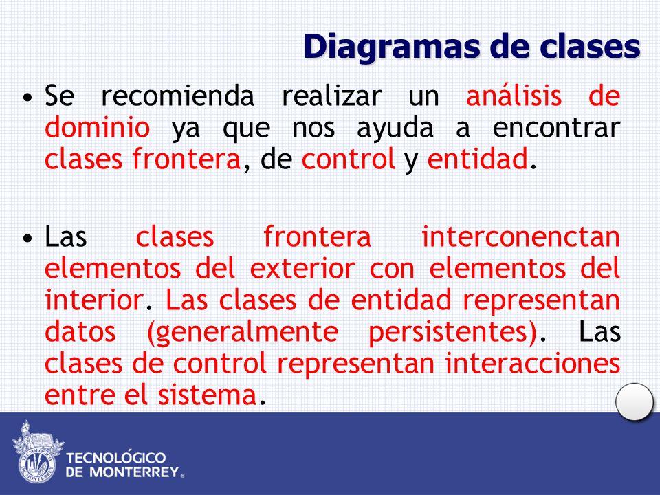 Diagramas de clases Se recomienda realizar un análisis de dominio ya que nos ayuda a encontrar clases frontera, de control y entidad. Las clases front