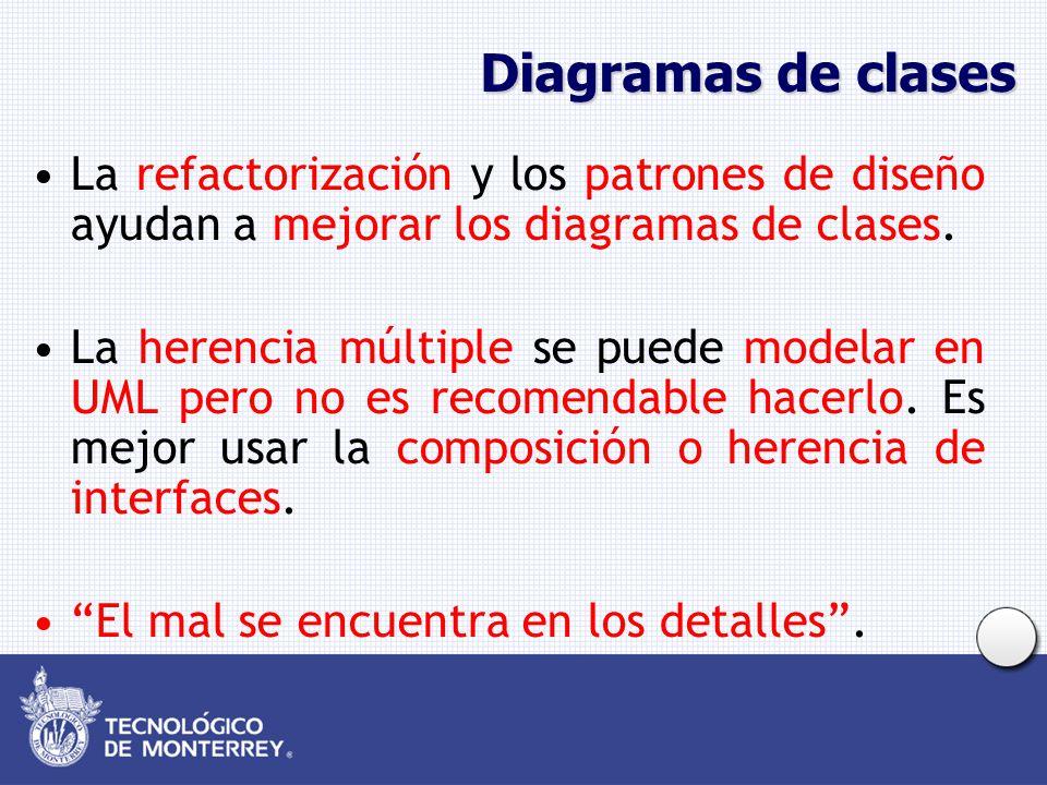 Diagramas de clases La refactorización y los patrones de diseño ayudan a mejorar los diagramas de clases. La herencia múltiple se puede modelar en UML