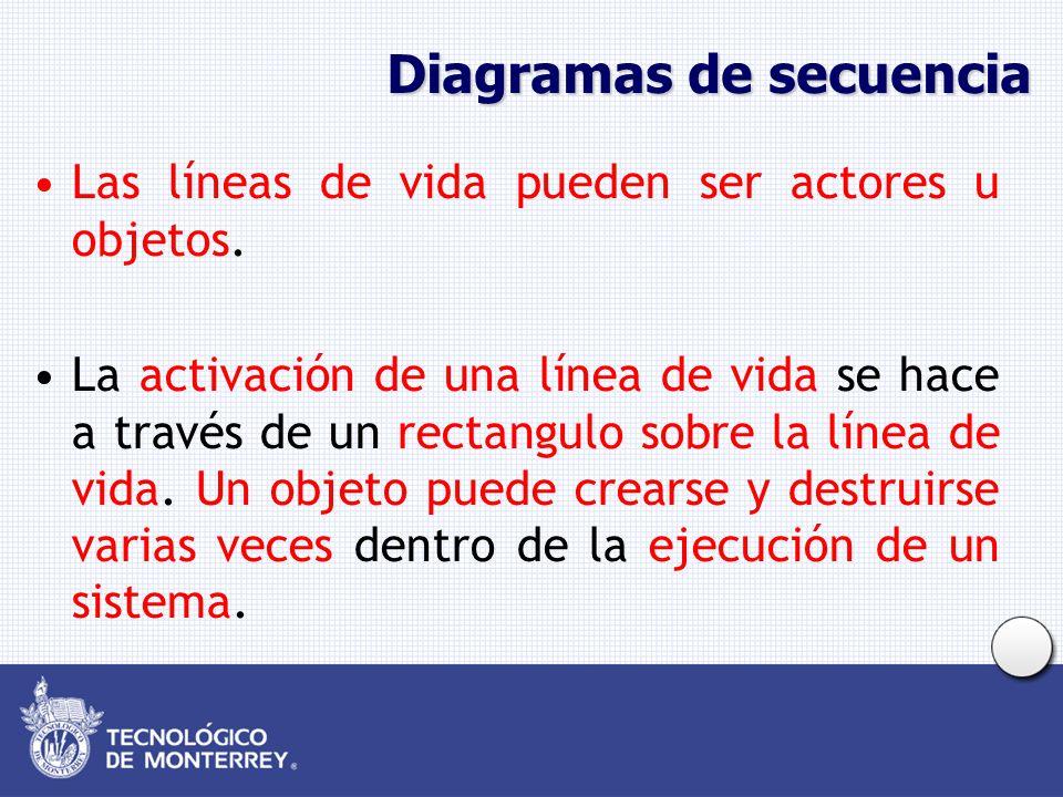 Diagramas de secuencia Las líneas de vida pueden ser actores u objetos. La activación de una línea de vida se hace a través de un rectangulo sobre la