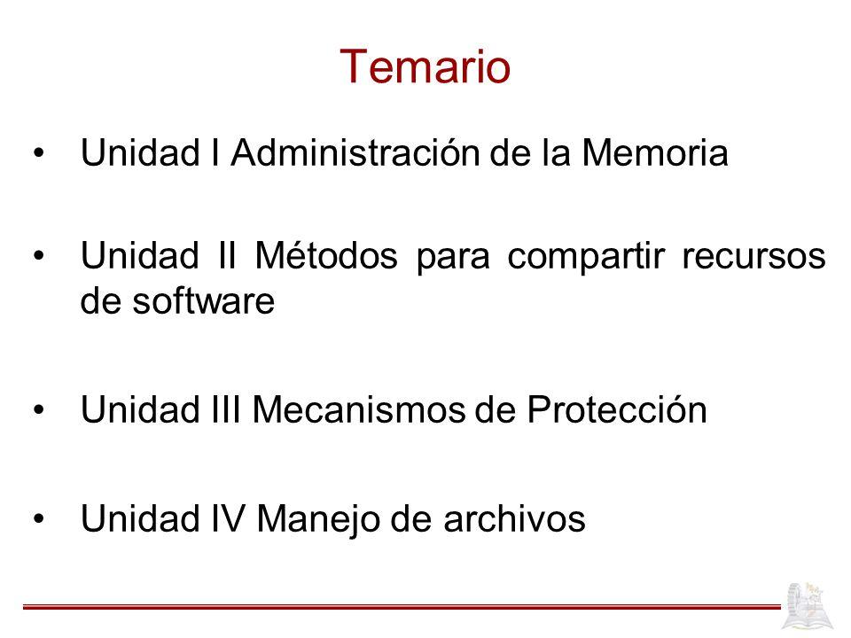 Temario Unidad I Administración de la Memoria Unidad II Métodos para compartir recursos de software Unidad III Mecanismos de Protección Unidad IV Mane