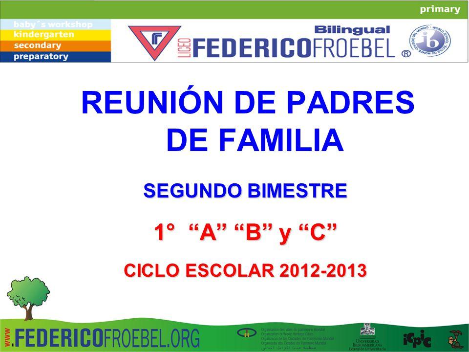 REUNIÓN DE PADRES DE FAMILIA SEGUNDO BIMESTRE 1° A B y C CICLO ESCOLAR 2012-2013