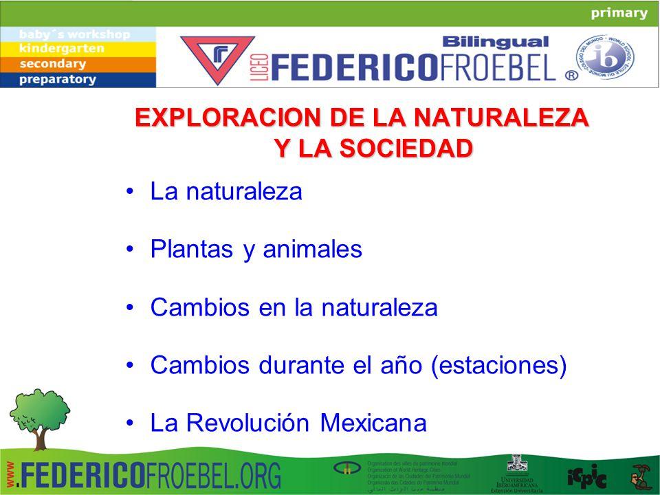 EXPLORACION DE LA NATURALEZA Y LA SOCIEDAD La naturaleza Plantas y animales Cambios en la naturaleza Cambios durante el año (estaciones) La Revolución Mexicana