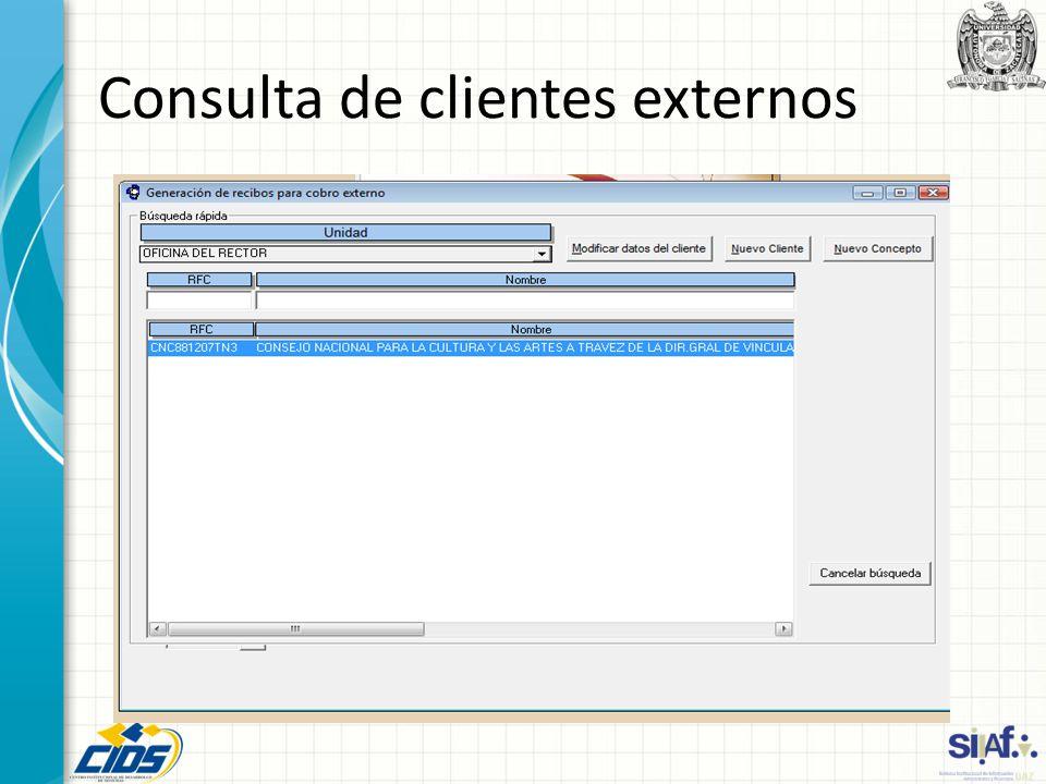 Consulta de clientes externos