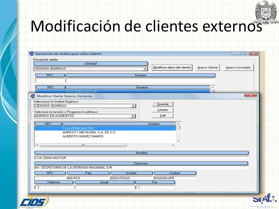 Modificación de clientes externos