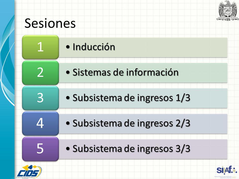 InducciónInducción 1 Sistemas de informaciónSistemas de información 2 Subsistema de ingresos 1/3Subsistema de ingresos 1/3 3 Subsistema de ingresos 2/3Subsistema de ingresos 2/3 4 Subsistema de ingresos 3/3Subsistema de ingresos 3/3 5 Sesiones
