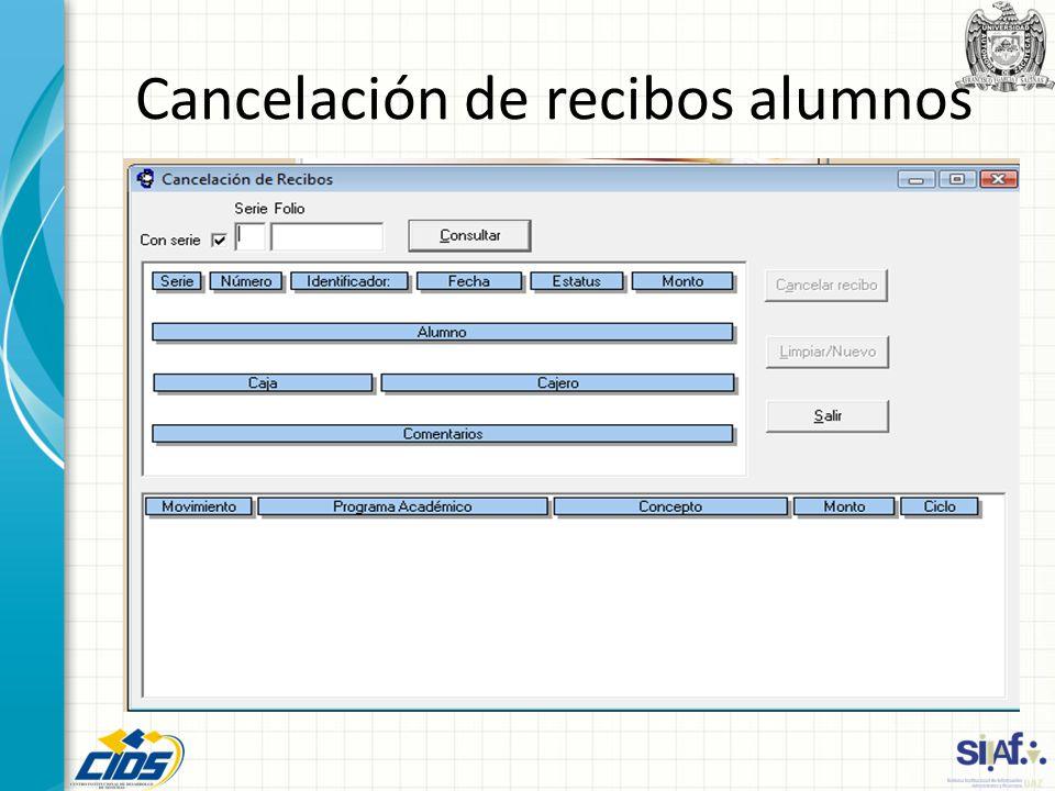 Cancelación de recibos alumnos