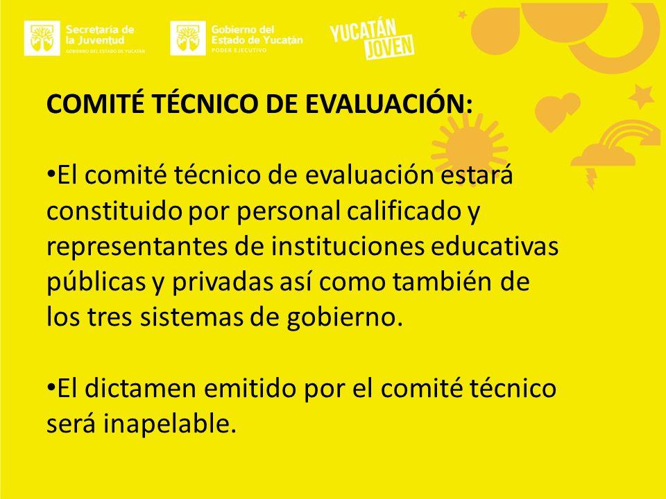 COMITÉ TÉCNICO DE EVALUACIÓN: El comité técnico de evaluación estará constituido por personal calificado y representantes de instituciones educativas públicas y privadas así como también de los tres sistemas de gobierno.