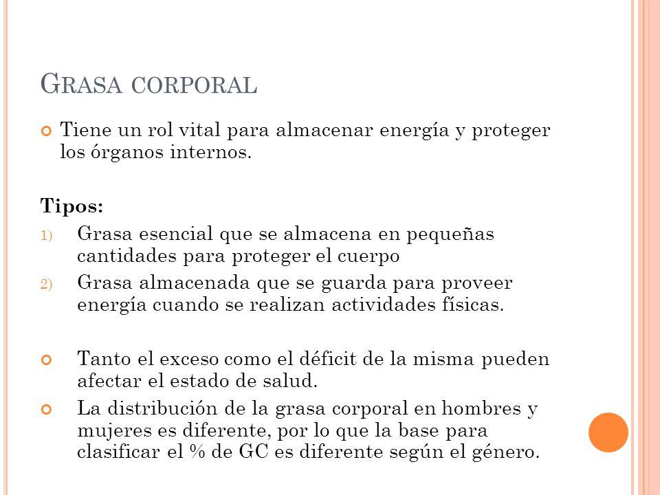 G RASA CORPORAL Tiene un rol vital para almacenar energía y proteger los órganos internos. Tipos: 1) Grasa esencial que se almacena en pequeñas cantid