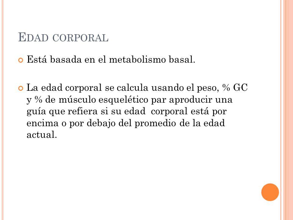 E DAD CORPORAL Está basada en el metabolismo basal. La edad corporal se calcula usando el peso, % GC y % de músculo esquelético par aproducir una guía