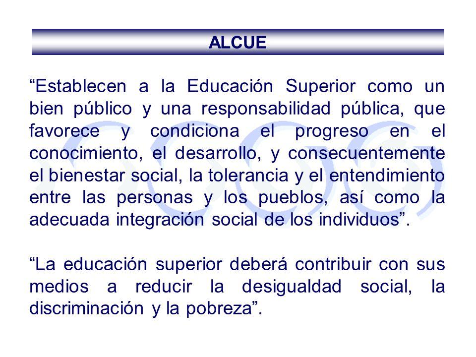 Establecen a la Educación Superior como un bien público y una responsabilidad pública, que favorece y condiciona el progreso en el conocimiento, el de