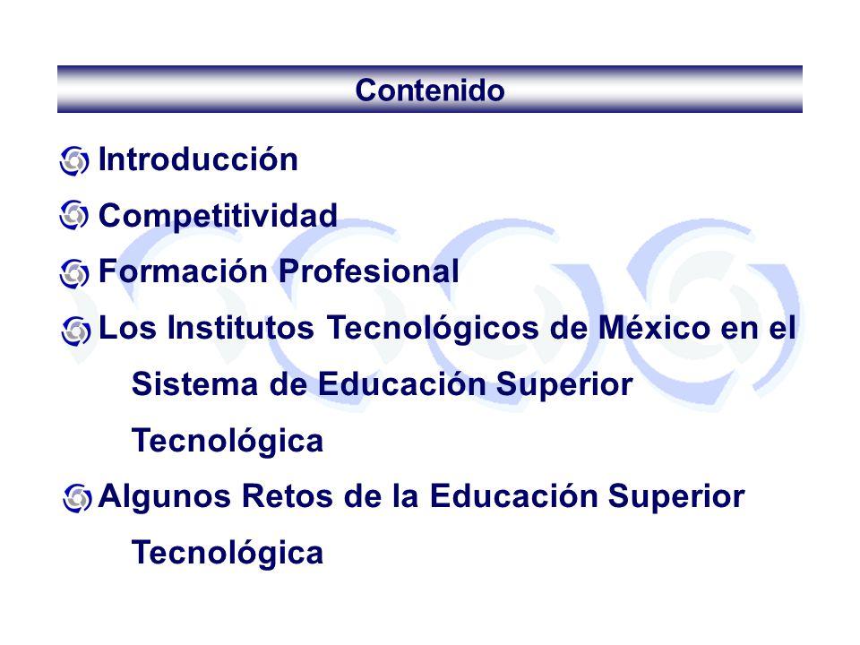 Introducción Competitividad Formación Profesional Los Institutos Tecnológicos de México en el Sistema de Educación Superior Tecnológica Algunos Retos