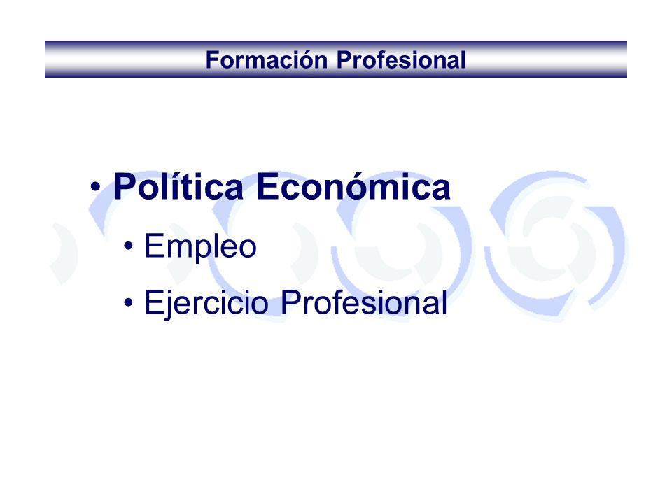 Formación Profesional Política Económica Empleo Ejercicio Profesional