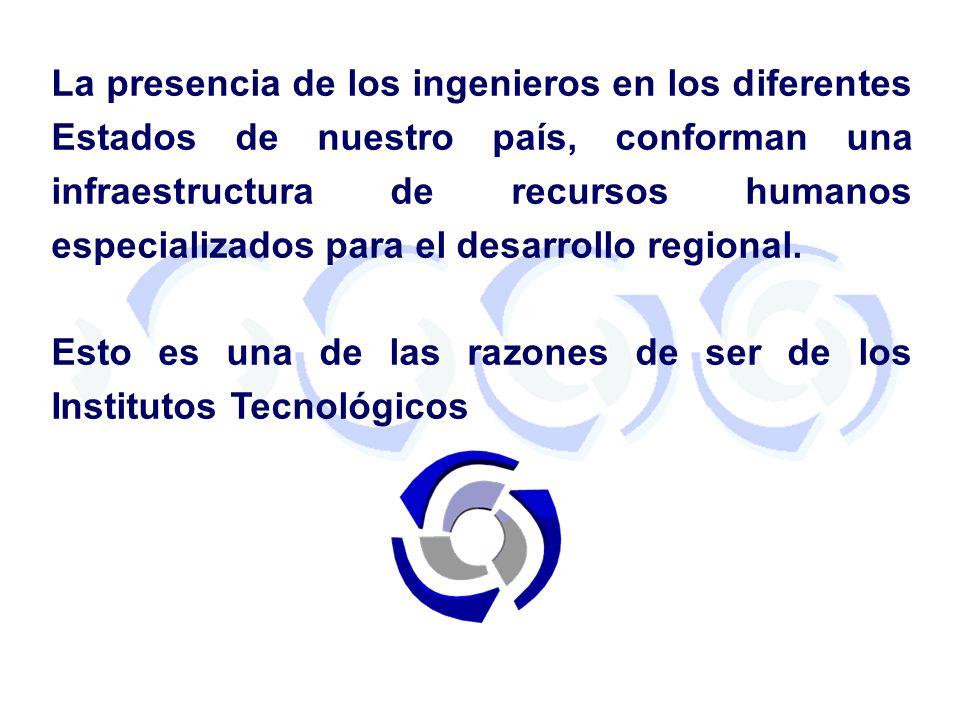 La presencia de los ingenieros en los diferentes Estados de nuestro país, conforman una infraestructura de recursos humanos especializados para el des