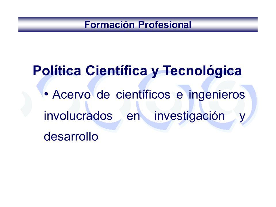 Formación Profesional Política Científica y Tecnológica Acervo de científicos e ingenieros involucrados en investigación y desarrollo