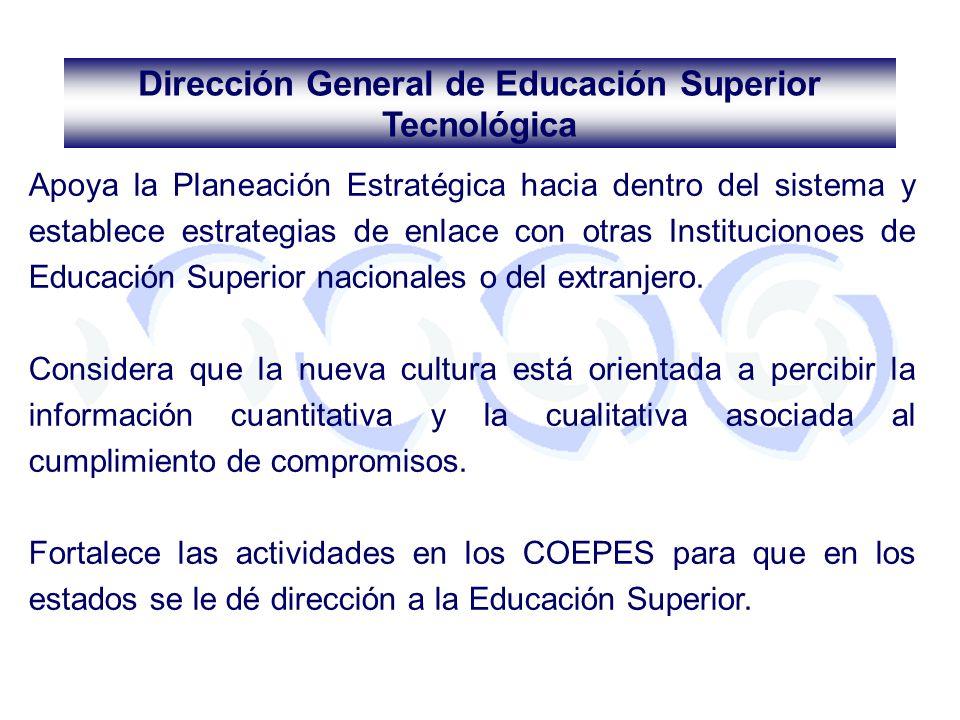 Apoya la Planeación Estratégica hacia dentro del sistema y establece estrategias de enlace con otras Institucionoes de Educación Superior nacionales o