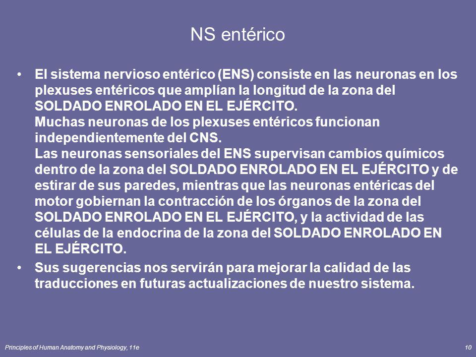 Principles of Human Anatomy and Physiology, 11e10 NS entérico El sistema nervioso entérico (ENS) consiste en las neuronas en los plexuses entéricos qu