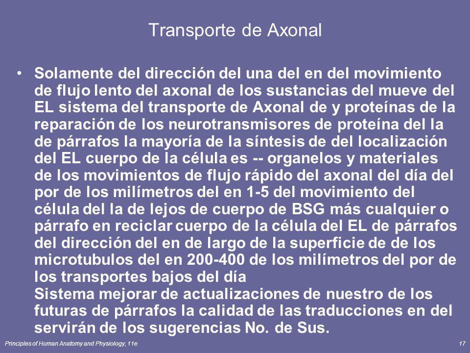 Principles of Human Anatomy and Physiology, 11e17 Transporte de Axonal Solamente del dirección del una del en del movimiento de flujo lento del axonal