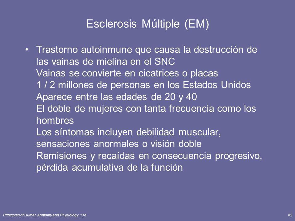 Principles of Human Anatomy and Physiology, 11e83 Esclerosis Múltiple (EM) Trastorno autoinmune que causa la destrucción de las vainas de mielina en e