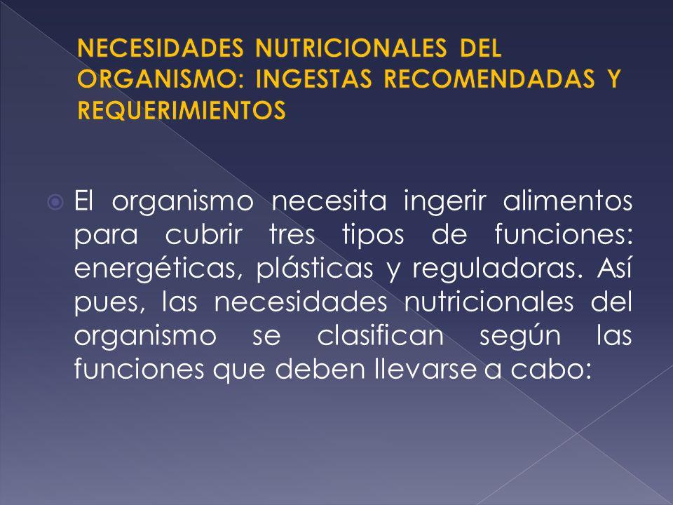 El organismo necesita ingerir alimentos para cubrir tres tipos de funciones: energéticas, plásticas y reguladoras. Así pues, las necesidades nutricion