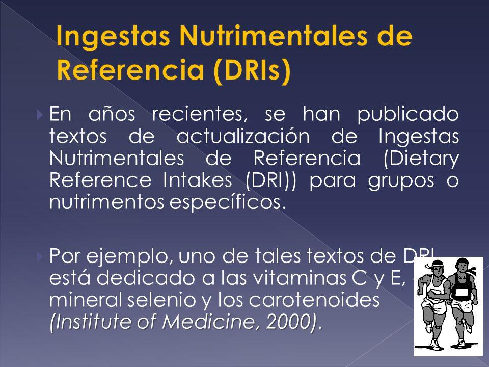 En años recientes, se han publicado textos de actualización de Ingestas Nutrimentales de Referencia (Dietary Reference Intakes (DRI)) para grupos o nu