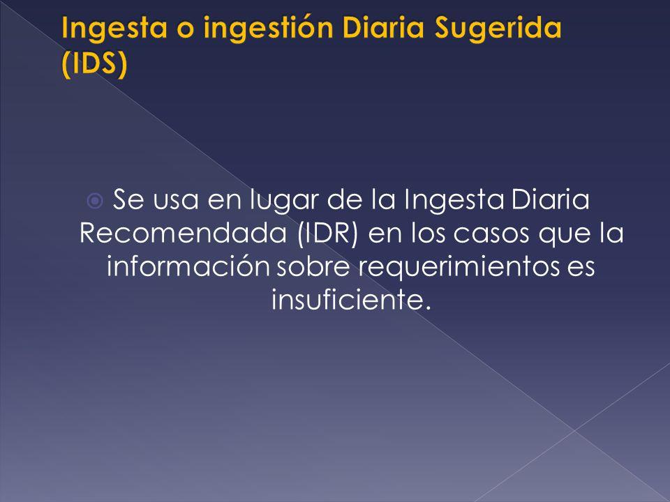 Cuando no puede determinarse una Ingesta Diaria Recomendada (RDA), el AI sirve como una estimación del consumo diario de un nutrimento que se asume es adecuado.