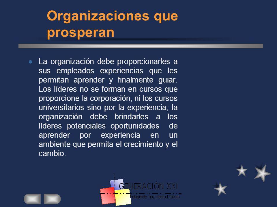 ORGANIZACIONES QUE PROSPERAN Las organizaciones que con el tiempo prosperan tienen características en común: Una estructura mas plana, menos jerárquic