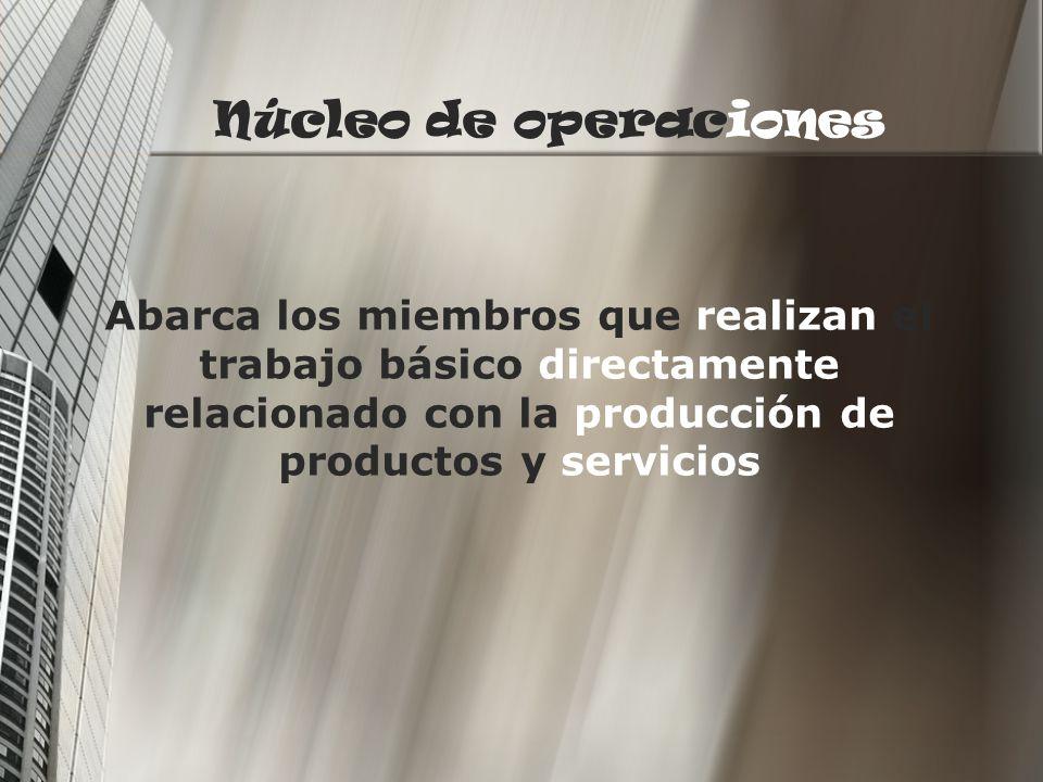 Núcleo de operaciones Abarca los miembros que realizan el trabajo básico directamente relacionado con la producción de productos y servicios