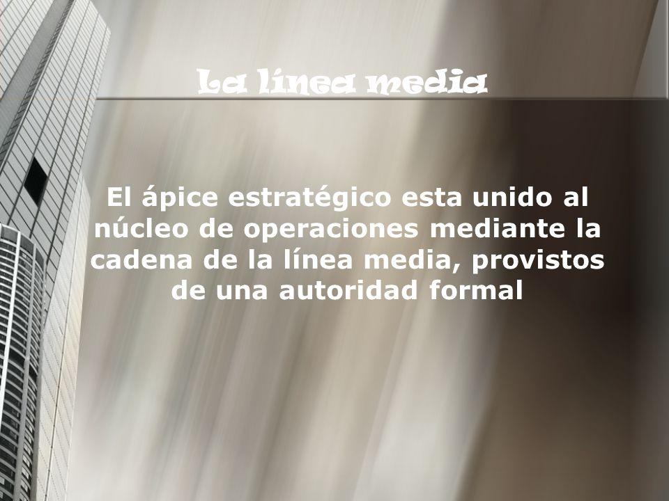 La línea media El ápice estratégico esta unido al núcleo de operaciones mediante la cadena de la línea media, provistos de una autoridad formal