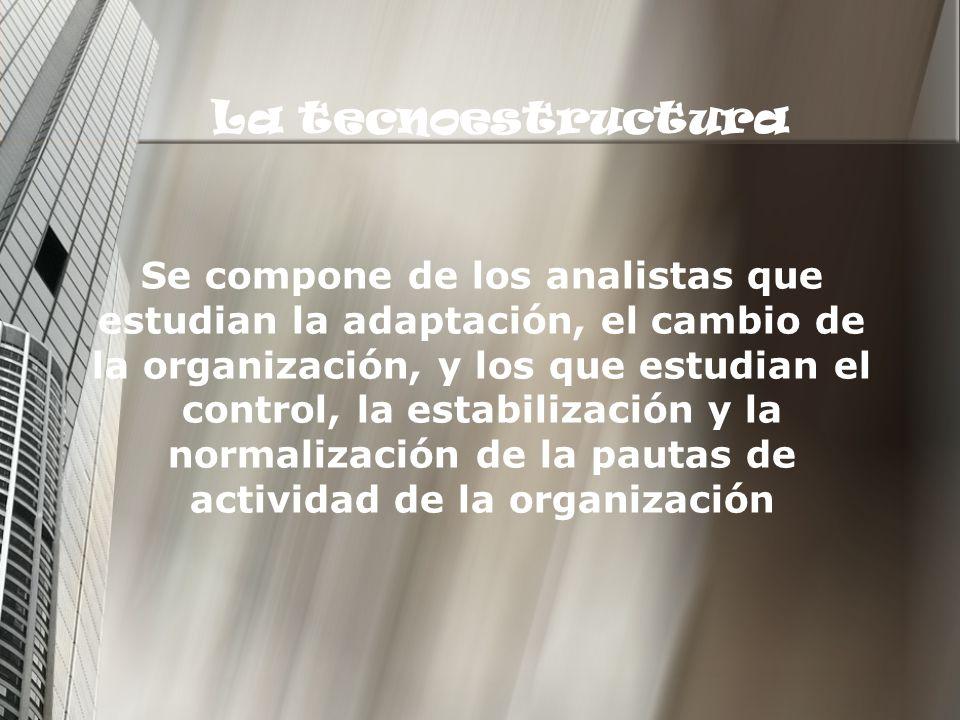 La tecnoestructura Se compone de los analistas que estudian la adaptación, el cambio de la organización, y los que estudian el control, la estabilizac