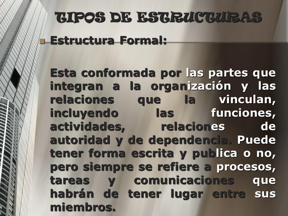 TIPOS DE ESTRUCTURAS Estructura Formal: Estructura Formal: Esta conformada por las partes que integran a la organización y las relaciones que la vincu